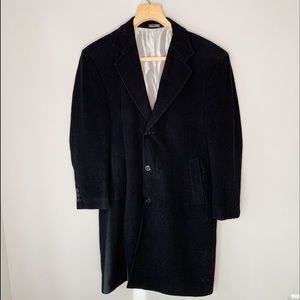 Cashmere wool single breast long 3 button coat